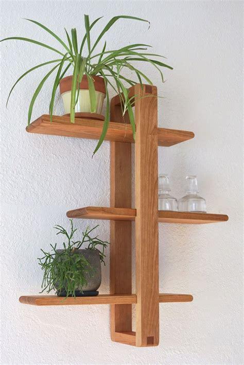 shift shelf modern wall shelf solid cherry  hanging