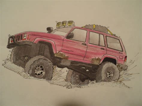 2001 Jeep Cherokee Drawing By Prestonthecarartist On