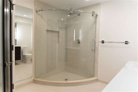 open glass inspired bathroom remodel  rochester ny
