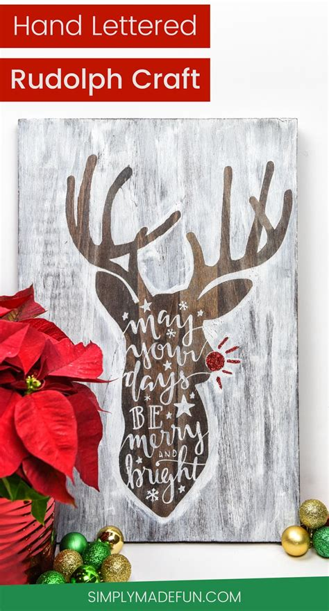hand lettered rudolph wooden sign craft