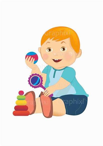 Clipart Boy Toddler Playing Toys Graphics Vector