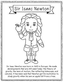 isaac newton biography worksheet sir isaac newton coloring page craft or poster stem