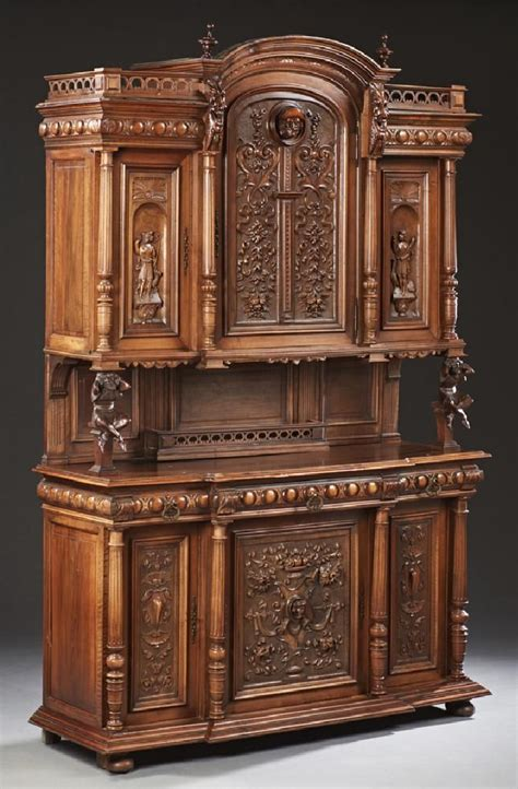 french henry ii style carved walnut buffet  century