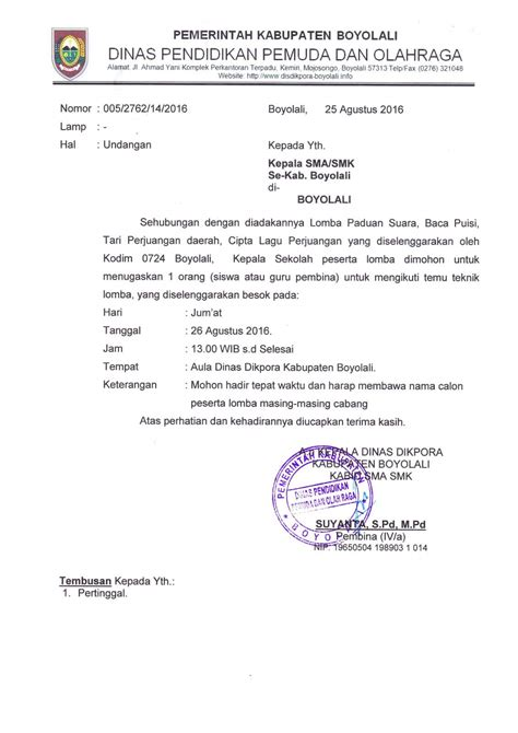 contoh surat undangan dinas resmi  benar