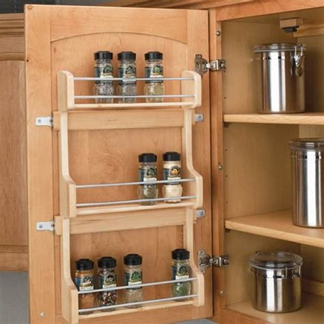 kitchen cabinet spice organizers rev a shelf door mount spice rack 18 inch wood 4sr 18 5791