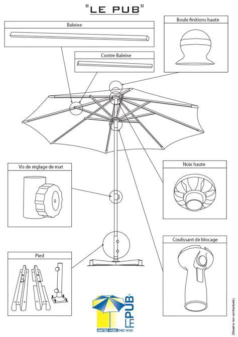 parasol aluminium centr 233 de petit format structure