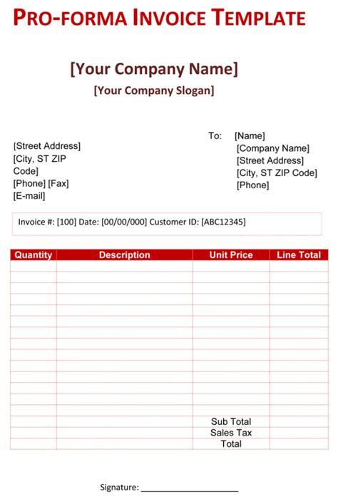 Pro Forma Template Proforma Invoice Template Doc Invoice Exle