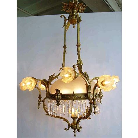 large antique 19th c bronze chandelier for sale