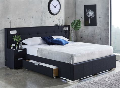 bed for cole midnight blue fabric bed frame with sound system