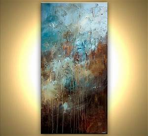 Painting - large textured blue brown abstract art #7529