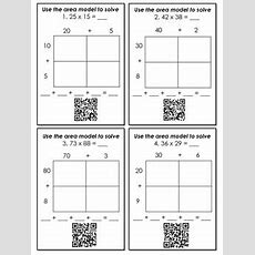 Multiplication With Area Models And Partial Products Qr Code Task Cards  Ccss Teaching Ideas
