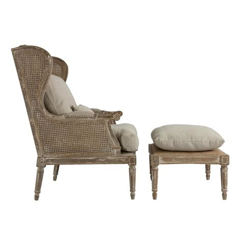 stephen hemp country wing back chair with ottoman