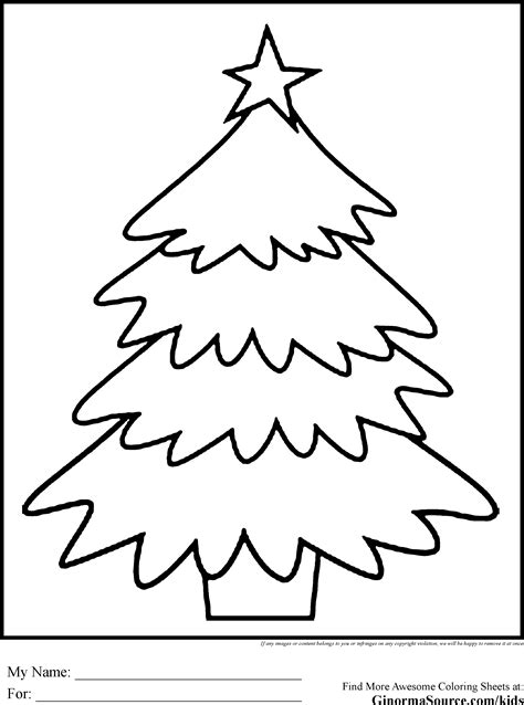 simple christmas tree coloring page gallery
