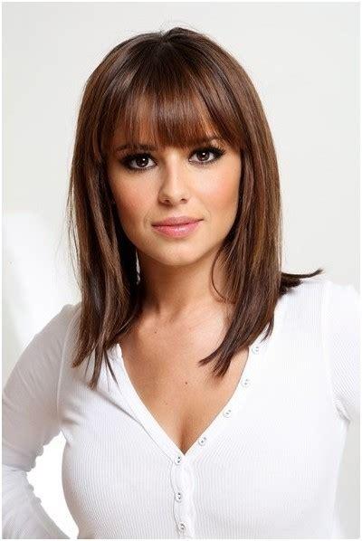 straight medium hairstyles with blunt bangs easy