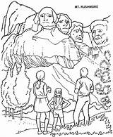 Rushmore Mount National Parks Coloring Printables Park Pages Drawing South Dakota Activities Usa Road Crafts Presidents Sheets Adult History Symbols sketch template