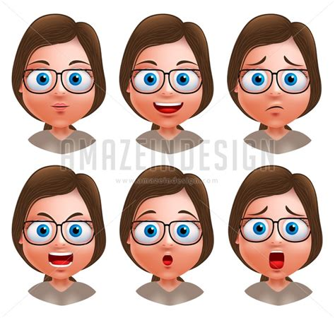nerd girl avatar vector character heads amazeindesign