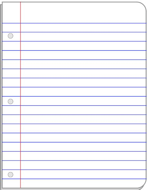 notebook paper template for word notebook paper template printable clipart best