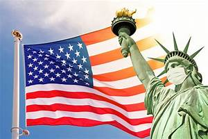 Statue, Of, Liberty, Wearing, A, Surgical, Mask, Us, American, Flag