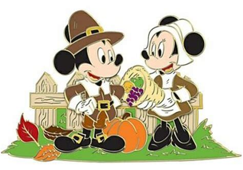 mickey mouse  minnie mouse  pilgrims thanksgiving pin