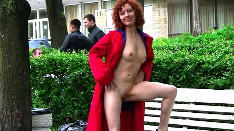 Curly Redhead Posing Nude In Public XBabe Video