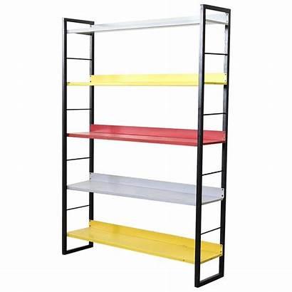 Bauhaus Bookshelf Enameled Metal Standing Tomado Inspired