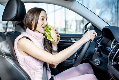 Driving Eating Distracted While Behind Caused Wheel