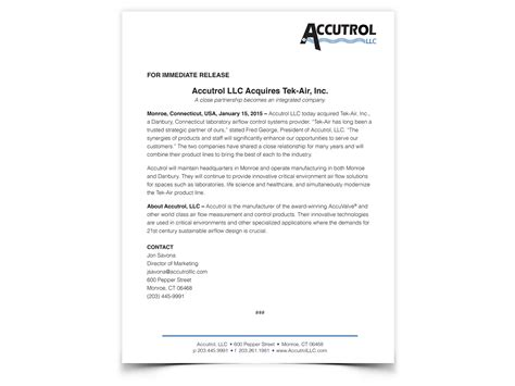 Acquisition Press Release Template by Press Release Writing