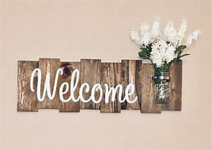 Rustic, Welcome, Sign, With, Mason, Jar, U2013, K, And, N, Designs