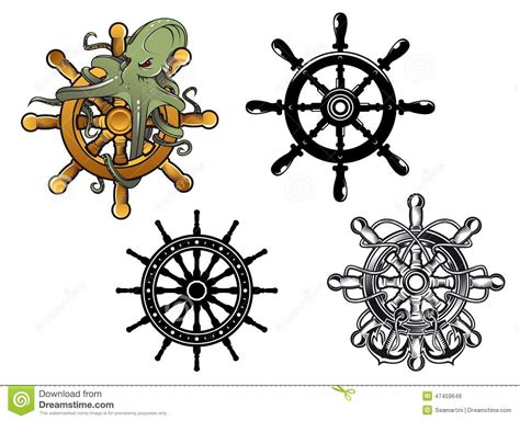 Octopus Ans Ship Steering Wheels Stock Vector