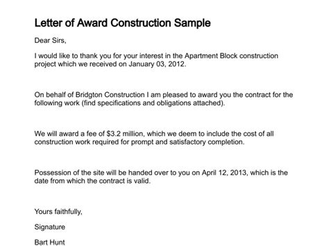 image result  contract award letter sample award