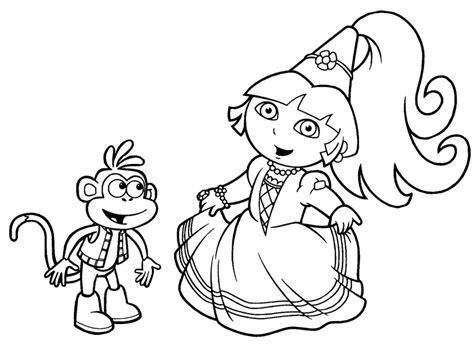 Princess Dora The Explorer Coloring Pages