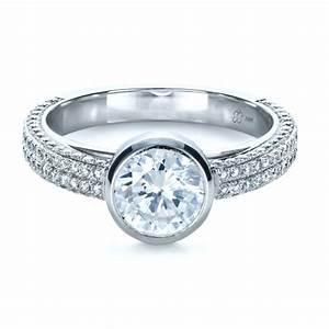 custom bezel set and pave diamond engagement ring 1231 With bezel set engagement ring with wedding band