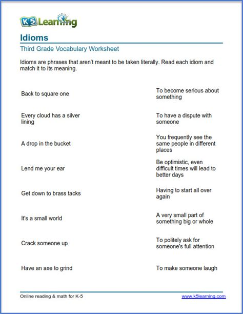grade 3 vocabulary worksheet idioms k5 learning