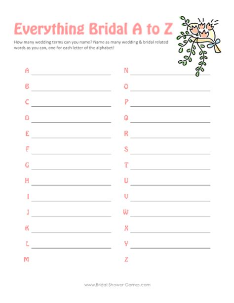 printable  weddings   game atbridal shower