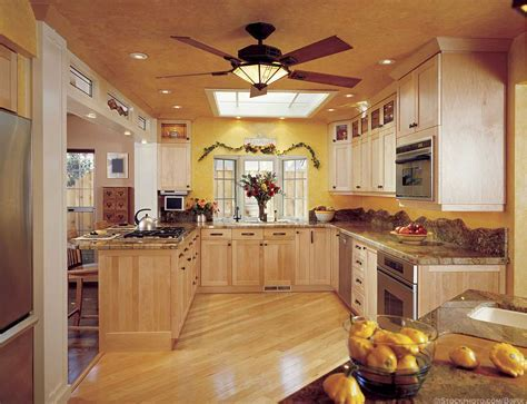 Kitchen ceiling fans with lights combined with recessed