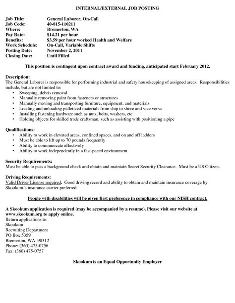 Cover Letter For Laborer Position by Sle General Laborer Resume 28 Images Sle Resume For