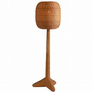 French mid century woven rattan floor lamp at 1stdibs for Floor lamp with woven shade