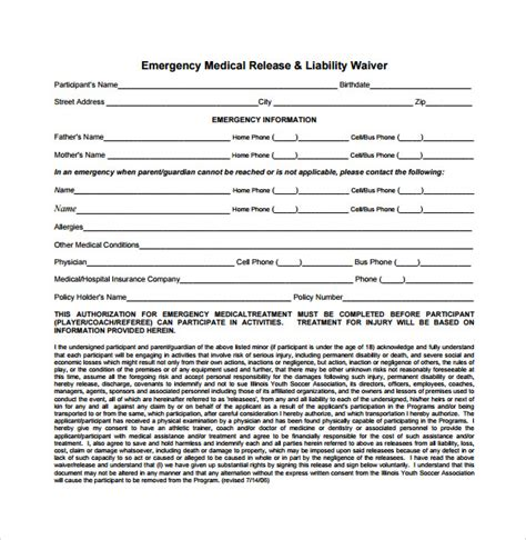 medical disclaimer form 9 liability release forms sles exles formats