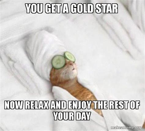 Gold Star Meme - you get a gold star now relax and enjoy the rest of your