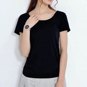 Summer Round Neck Short Sleeve Casual Tops Tee Solid Color ...