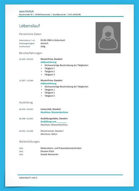 Vorlage Für Lebenslauf Word by Kostenlose Lebenslauf Muster Und Vorlagen F 252 R Deine