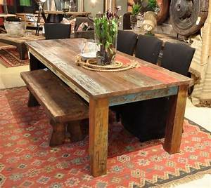 "Vintage Multicolor 107"" Dining Table - Rustic - Dining"