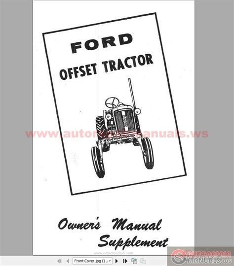 ford  offset tractor owners manual supplement