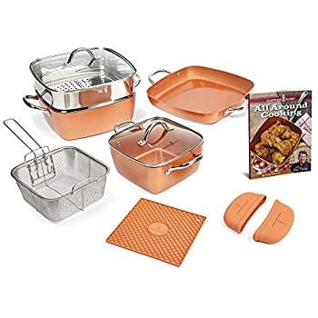 amazoncom copper chef  piece square casserole cookware set kitchen dining