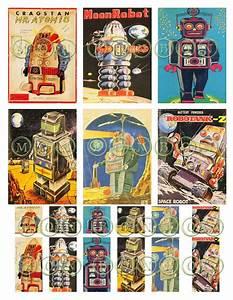 Vintage Sci Fi Retro Robots No. 2 Digital Download Collage ...