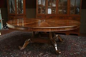 Furniture: Extra Large Round Mahogany Dining Table Large