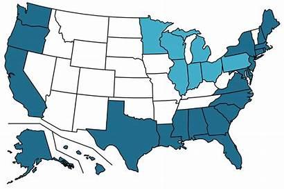 States Coastal Coastline State Usa Ocean Map