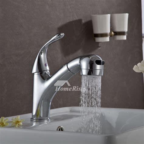 bathroom faucet  sprayer pull  brass chrome modern