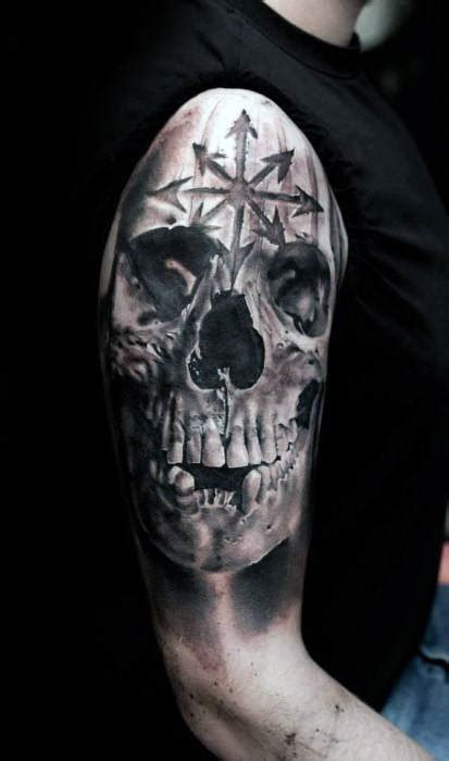 realistic skull tattoos  men masculine design ideas
