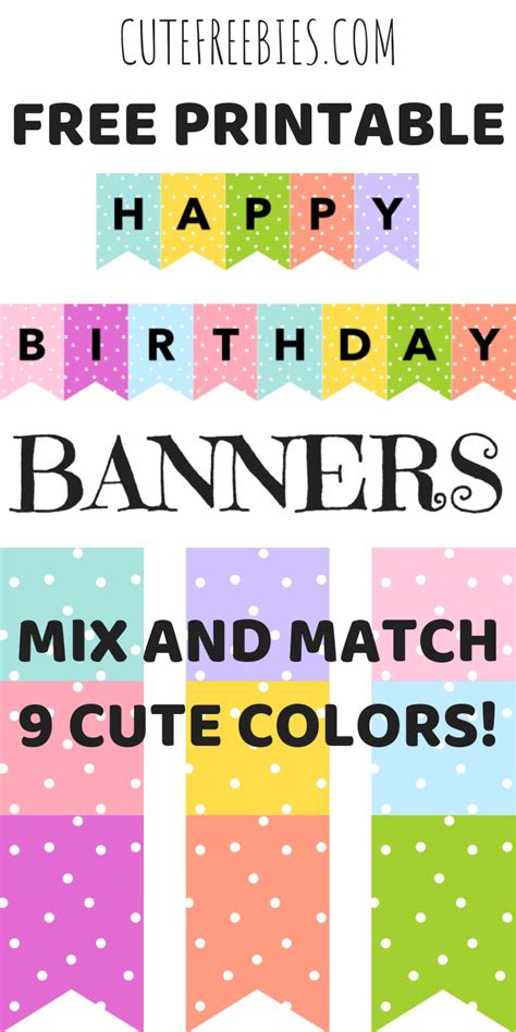 happy birthday banners buntings  printable happy